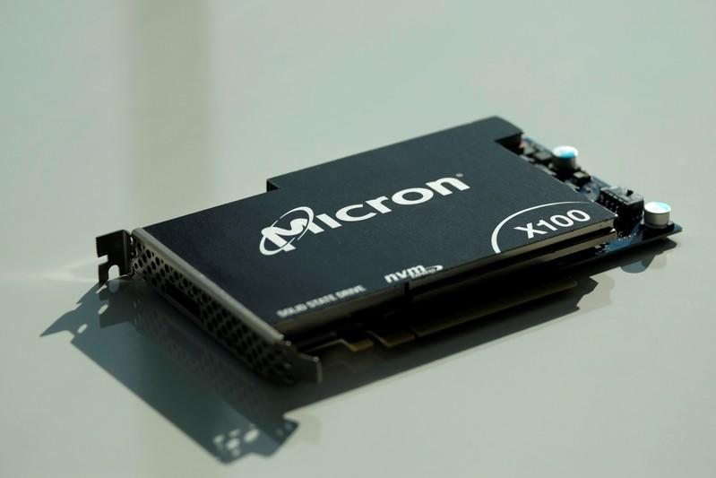 Micron Technology's hard drive for data center customers is presented at a product launch event in San Francisco