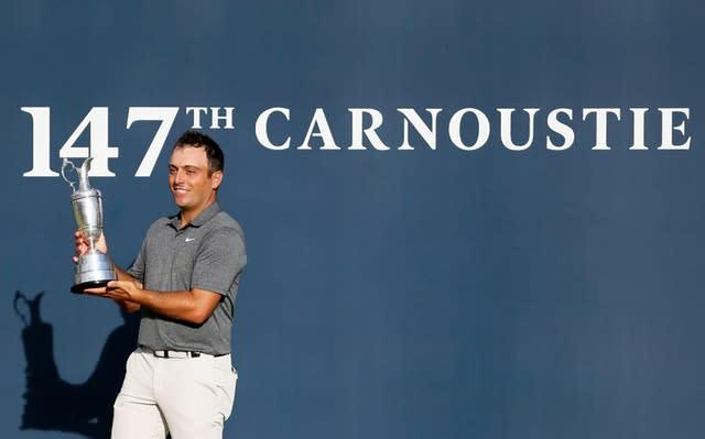 Francesco Molinari celebrates with the Claret Jug at Carnoustie in 2018 (Richard Sellers/PA)