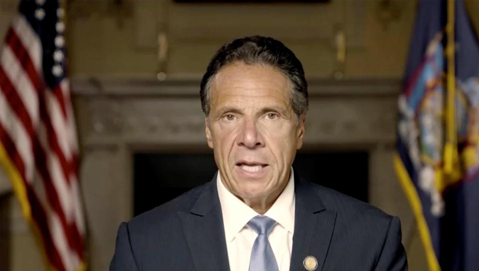 New York Governor Andrew Cuomo makes a statement in this screen grab taken from a pre-recorded video released by Office of the NY Governor, (via REUTERS)