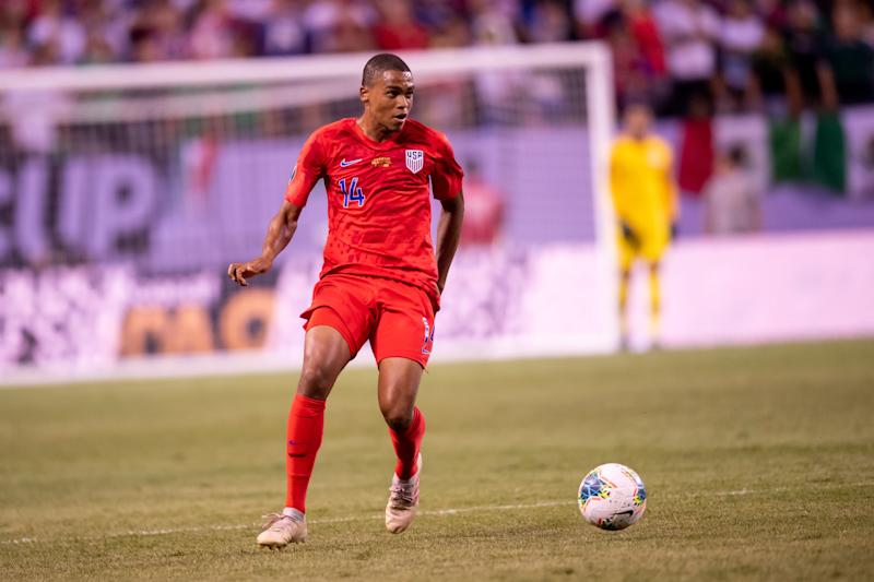 CHICAGO, IL - JULY 07: USA defender Reggie Cannon (14) controls the ball during the CONCACAF Gold Cup final match between the United States and Mexico on July 07, 2019, at Soldier Field in Chicago, IL. (Photo By Patrick Gorski/Icon Sportswire via Getty Images)