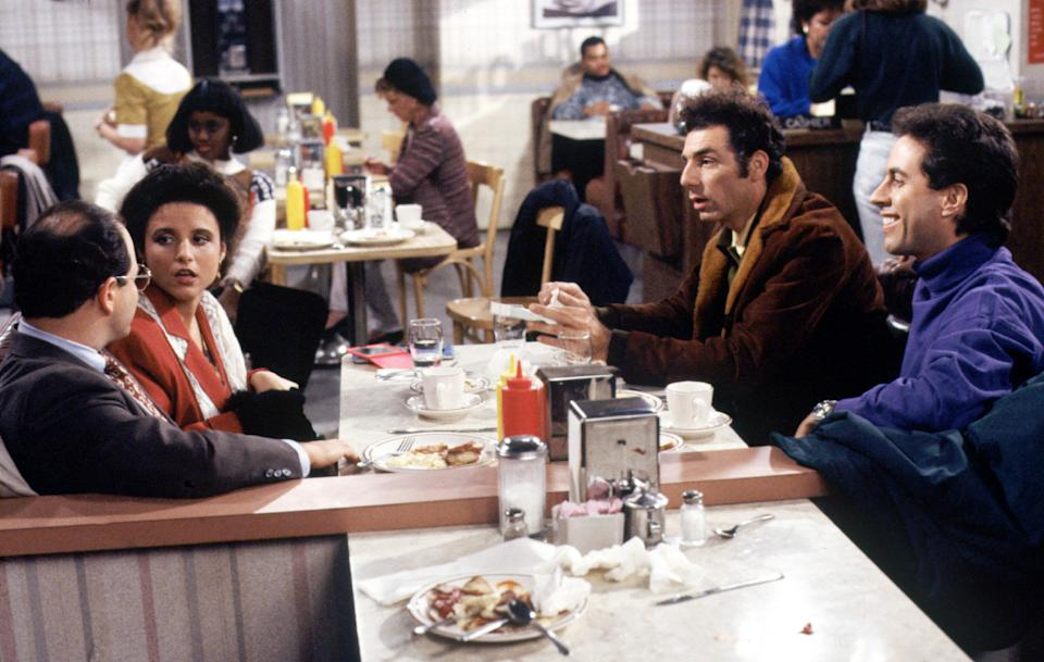 SEINFELD, Jason Alexander, Julia Louis-Dreyfus, Michael Richards, Jerry Seinfeld. Ep. 'The Subway' aired 01/08/1992, Season 3. 1990 - 1998 (c) Columbia TriStar Television/ Courtesy: Everett Collection. | ©Columbia Tristar/Courtesy Everett Collection—©Columbia Tristar/Courtesy Everett Collection