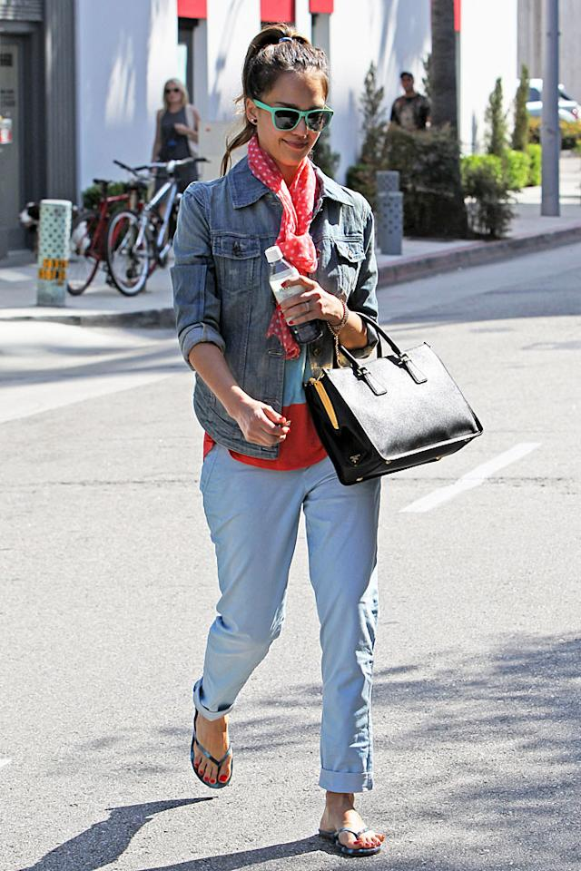 The fashionable Jessica Alba, 31, loves a jean jacket -- and has even been known to sport ones that come from inexpensive stores like Gap! The mom of two topped off her cute and colorful look with a denim coat while running errands in her hometown of L.A.