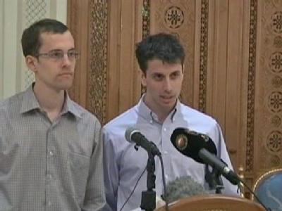 U.C. Berkeley graduates Shane Bauer and Josh Fattal speak about their release from Iranian custody.