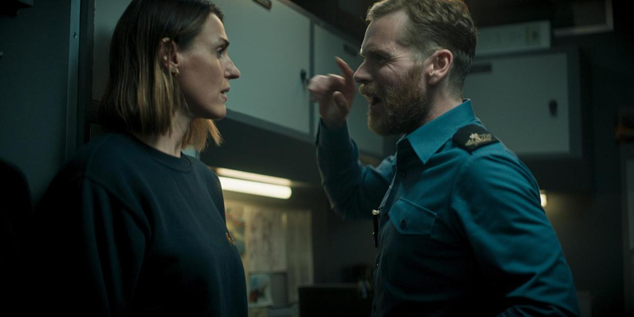 WARNING: Embargoed for publication until 00:00:01 on 07/09/2021 - Programme Name: Vigil - TX: n/a - Episode: n/a (No. 4) - Picture Shows:  Amy Silva (SURANNE JONES), Glover (SHAUN EVANS) - (C) World Productions - Photographer: screengrab