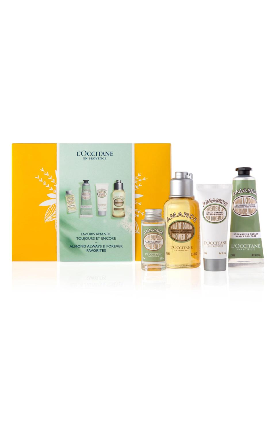 "<p><strong>L'OCCITANE</strong></p><p>nordstrom.com</p><p><strong>$34.00</strong></p><p><a href=""https://go.redirectingat.com?id=74968X1596630&url=https%3A%2F%2Fwww.nordstrom.com%2Fs%2Floccitane-almond-always-forever-favorites-set-usd-36-50-value%2F5558067&sref=https%3A%2F%2Fwww.goodhousekeeping.com%2Fholidays%2Fgift-ideas%2Fg4683%2Fgifts-for-grandma%2F"" rel=""nofollow noopener"" target=""_blank"" data-ylk=""slk:Shop Now"" class=""link rapid-noclick-resp"">Shop Now</a></p><p>As her skin starts to take a hit from the dry winter air, she can lather up with the almond-scented products in this four-piece set. Each moisturizing product targets a specific area — a hand and nail cream for dry cuticles, for example — so she can give her body complete care. </p>"