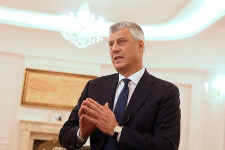 Kosovo's President Hashim Thaci speaks during an interview with Reuters in his office in Pristina