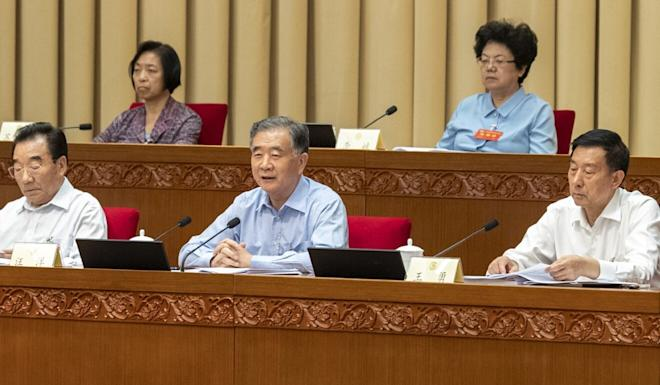 CPPCC chairman Wang Yang (centre) attends the national political advisory body meeting in Beijing on Wednesday. Photo: Xinhua