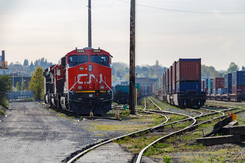 CN Rail Locomotive in Freight Yard