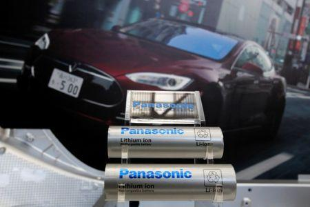 Panasonic Corp's lithium-ion batteries are displayed at the Panasonic Center in Tokyo