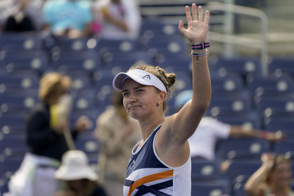 Barbora Krejcikova, of the Czech Republic, reacts after defeating Kamilla Rakhimova, of Russia, during the third round of the US Open tennis championships, Friday, Sept. 3, 2021, in New York. (AP Photo/John Minchillo)