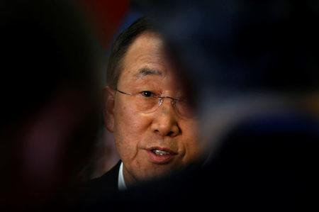 FILE PHOTO -  United Nations Secretary General Ban Ki-Moon is seen during an interview with Reuters at U.N. headquarters in New York