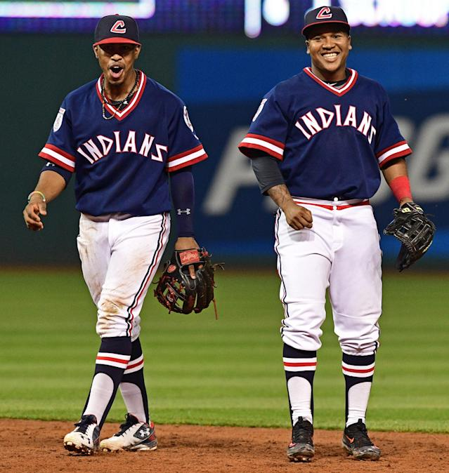 The Indians wore these 1970s throwbacks in 2016. (AP)