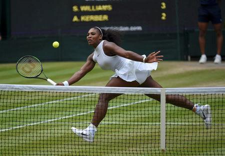 FILE PHOTO: Britain Tennis - Wimbledon - All England Lawn Tennis & Croquet Club, Wimbledon, England - 9/7/16 USA's Serena Williams in action against Germany's Angelique Kerber during the womens singles final  REUTERS/Toby Melville    Picture Supplied by Action Images/File Photo