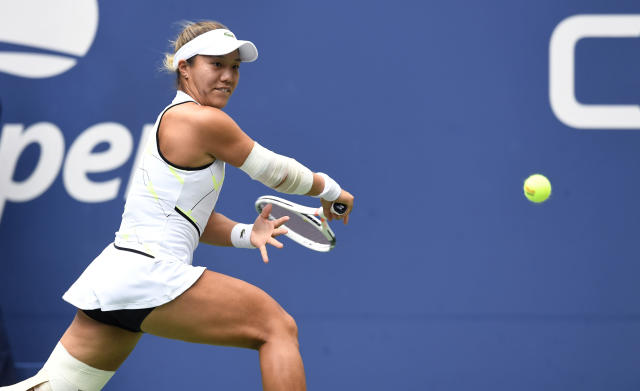 Kristie Ahn, of the United States, eyes a return against Elise Mertens, of Belgium, during the fourth round of the US Open tennis championships Monday, Sept. 2, 2019, in New York. (AP Photo/Sarah Stier)