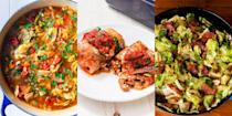 """<p>Let's face it, cabbage isn't always the first veg we reach for when choosing sides. And it's most definitely not the first veg we reach for when choosing mains, either. But throw <a href=""""https://www.delish.com/uk/cooking/recipes/a34985200/bacon-cabbage-dippers-recipe/"""" rel=""""nofollow noopener"""" target=""""_blank"""" data-ylk=""""slk:Bacon-Wrapped Cabbage"""" class=""""link rapid-noclick-resp"""">Bacon-Wrapped Cabbage</a>, <a href=""""https://www.delish.com/uk/cooking/recipes/a34959492/low-carb-cabbage-enchilada-recipe/"""" rel=""""nofollow noopener"""" target=""""_blank"""" data-ylk=""""slk:Cabbage Enchiladas"""" class=""""link rapid-noclick-resp"""">Cabbage Enchiladas</a> and <a href=""""https://www.delish.com/uk/cooking/recipes/a31110430/fried-cabbage-recipe/"""" rel=""""nofollow noopener"""" target=""""_blank"""" data-ylk=""""slk:Fried Cabbage"""" class=""""link rapid-noclick-resp"""">Fried Cabbage</a> into the mix, then maybe we'll re-take... </p><p>We've rounded up some genius cabbage recipes for you to try, and we're convinced they'll change the way you feel about (and cook) the leafy green. For some insanely-easy and very tasty cabbage recipes, keep scrolling. </p><p>Not the cabbage-type? Maybe you'd prefer our <a href=""""https://www.delish.com/uk/cooking/recipes/g36426807/spring-pea-recipes/"""" rel=""""nofollow noopener"""" target=""""_blank"""" data-ylk=""""slk:Spring Pea"""" class=""""link rapid-noclick-resp"""">Spring Pea </a>recipes, instead. </p>"""