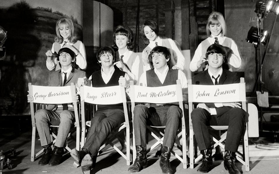 The Beatles on a set of Hard Day's Night
