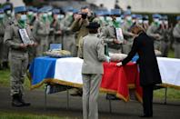 French losses: Defence Minister Florence Parly pays tribute to three soldiers killed by a roadside bomb in Mali in December