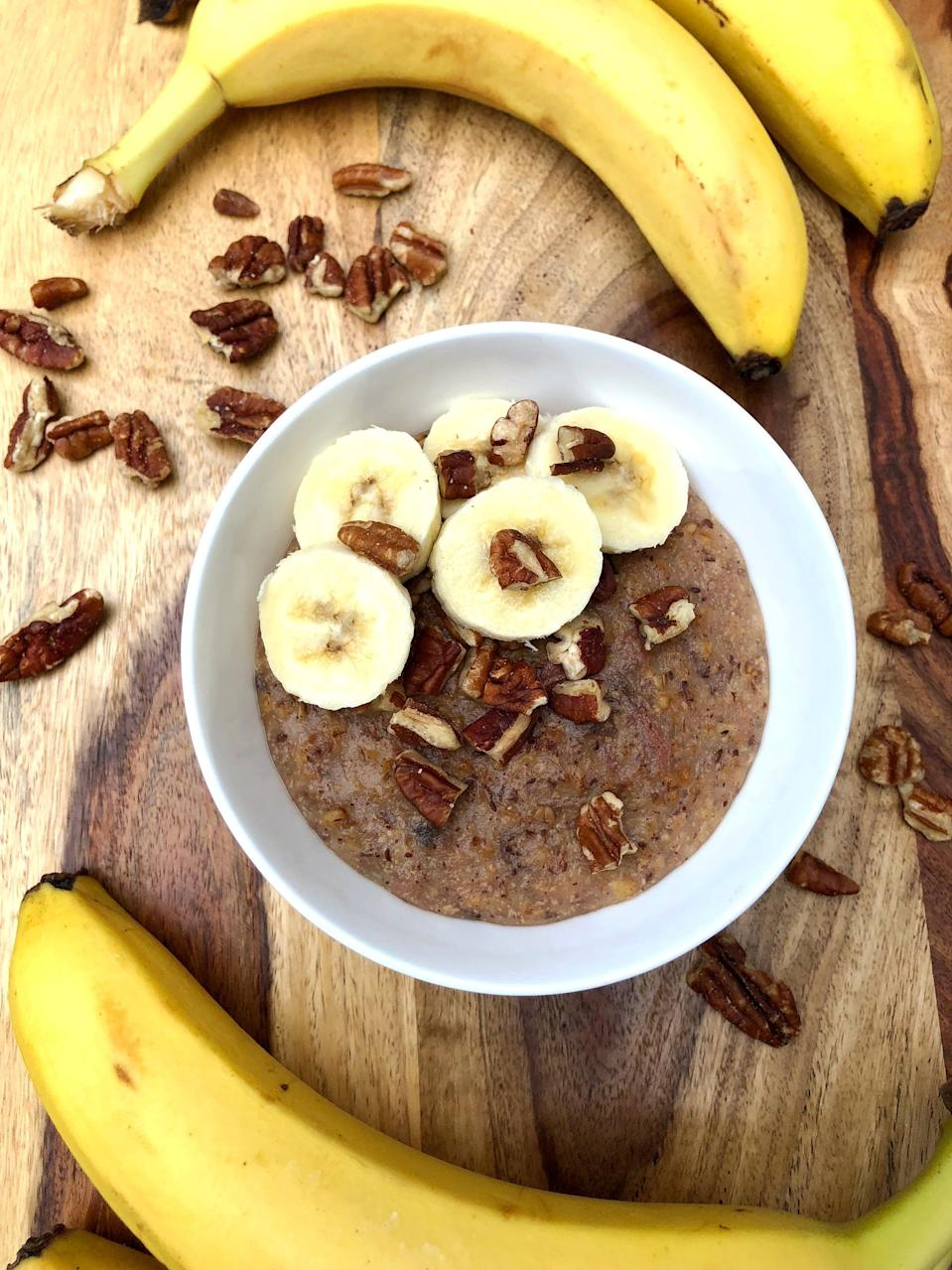 "<p>With just five minutes of prep on Sunday night, you'll have five breakfasts to spoon into all week long (thank you, slow cooker!).</p> <p><strong>Calories:</strong> 247<br> <strong>Protein:</strong> 8 grams</p> <p><strong>Get the recipe:</strong> <a href=""https://www.popsugar.com/fitness/Slow-Cooker-Banana-Steel-Cut-Oatmeal-45430189"" class=""link rapid-noclick-resp"" rel=""nofollow noopener"" target=""_blank"" data-ylk=""slk:slow-cooker banana steel-cut oatmeal"">slow-cooker banana steel-cut oatmeal</a></p>"