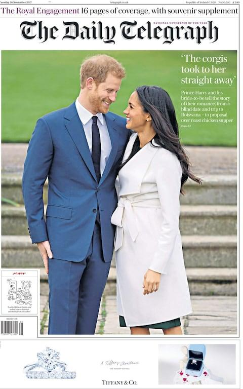 "Prince Harry and American actress Meghan Markle announced on Monday they were getting married next year, saying their relationship had blossomed ""incredibly quickly"" after meeting on a blind date. Harry, 33, the Queen's grandson and fifth-in-line to the throne, and Markle, 36, best known for her role in the U.S. TV legal drama ""Suits"", said they had got engaged in London this month and will wed in the spring next year. The news was welcomed around the world - especially in Ms Markle's homeland.  United States The New York Daily News And he did it in front of a portrait of notorious indigenous slayer Andrew Jackson! An early look at Tuesday's front page: https://t.co/UaUpGlAWGopic.twitter.com/ZCMjaZjvak— New York Daily News (@NYDailyNews) November 28, 2017 New York Post New York Post New York Times The New York Times front page Washington Post Washington Post's front page Los Angeles Times Los Angeles Times front page USA Today USA Today front page Canada The Globe and Mail The Globe and Mail front page Toronto Star Toronto Star front page Toronto Sun  Toronto Sun front page National Post National Post front page Britain The Daily Telegraph A souvenir edition of The Daily Telegraph celebrates the happy couple While Matt manages to combine the news with England's Ashes struggles Daily Mail The Mail focuses on Harry's quote that ""the stars were aligned"" The Sun 'She's the one!' says The Sun, zooming in on the ring, which was made using one of Princess Diana's diamonds Daily Mirror The Mirror says Meghan 'just tripped and fell into Harry's life' The Times The Times has a big picture of the couple, but splashes on a story about a Labour purge The Guardian The Guardian also splashes on a politics story, but features a comment by Afua Hirsch on Britain's changing attitude towards race Metro Metro goes with 'One's one' and features a picture of Meghan and Harry looking into each other's eyes Tuesday's METRO: ""One's ONE"" #bbcpapers#tomorrowspaperstodaypic.twitter.com/2gnPbGQ4h3— Allie Hodgkins-Brown (@AllieHBNews) November 27, 2017 Daily Express The Express also has the picture of the newly engaged couple beaming at each other The Independent Predictably, the pro-republican Independent did not go big on the Royal news Tuesday's INDEPENDENT Digital: ""May faces fresh claims of 'rigging Parliament' "" #bbcpapers#tomorrowspaperstodaypic.twitter.com/DhAB5ZHfkE— Allie Hodgkins-Brown (@AllieHBNews) November 27, 2017 i The i celebrated the news, pointing out that Ms Markle will become the first mixed-race member of the Royal family Australia The news graced the front pages in Australia as well.  So big news about the Royals. Check out our front and back pages and Warren https://t.co/NEhgUFsAaFpic.twitter.com/SQPSCR5EiT— The Daily Telegraph (@dailytelegraph) November 27, 2017 Melbourne's Herald Sun went for ""Hooray Harry"", Queensland's Courier Mail went for ""Prince Marry"" and the Hobart Mercury had ""Meghan suits Prince Harry  just fine""."