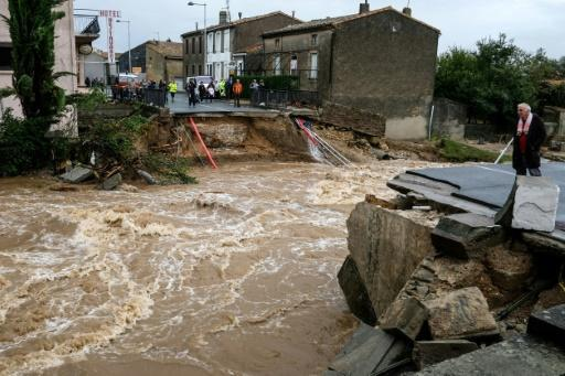 Bridges and roads collapsed as flash floods swamped towns around the fortress city of Carcassonne in southern France