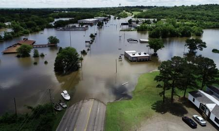 FILE PHOTO: A road submerged in the flood waters of the Arkansas River is shown in this aerial photo in Fort Smith