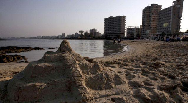 A general view of Famagusta's coast with the deserted hotels of the tourist area of Varosha in the background. Photo: Getty/AFP.