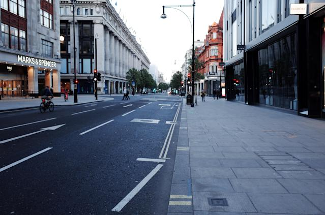 A deserted Oxford Street in London. Photo: Getty