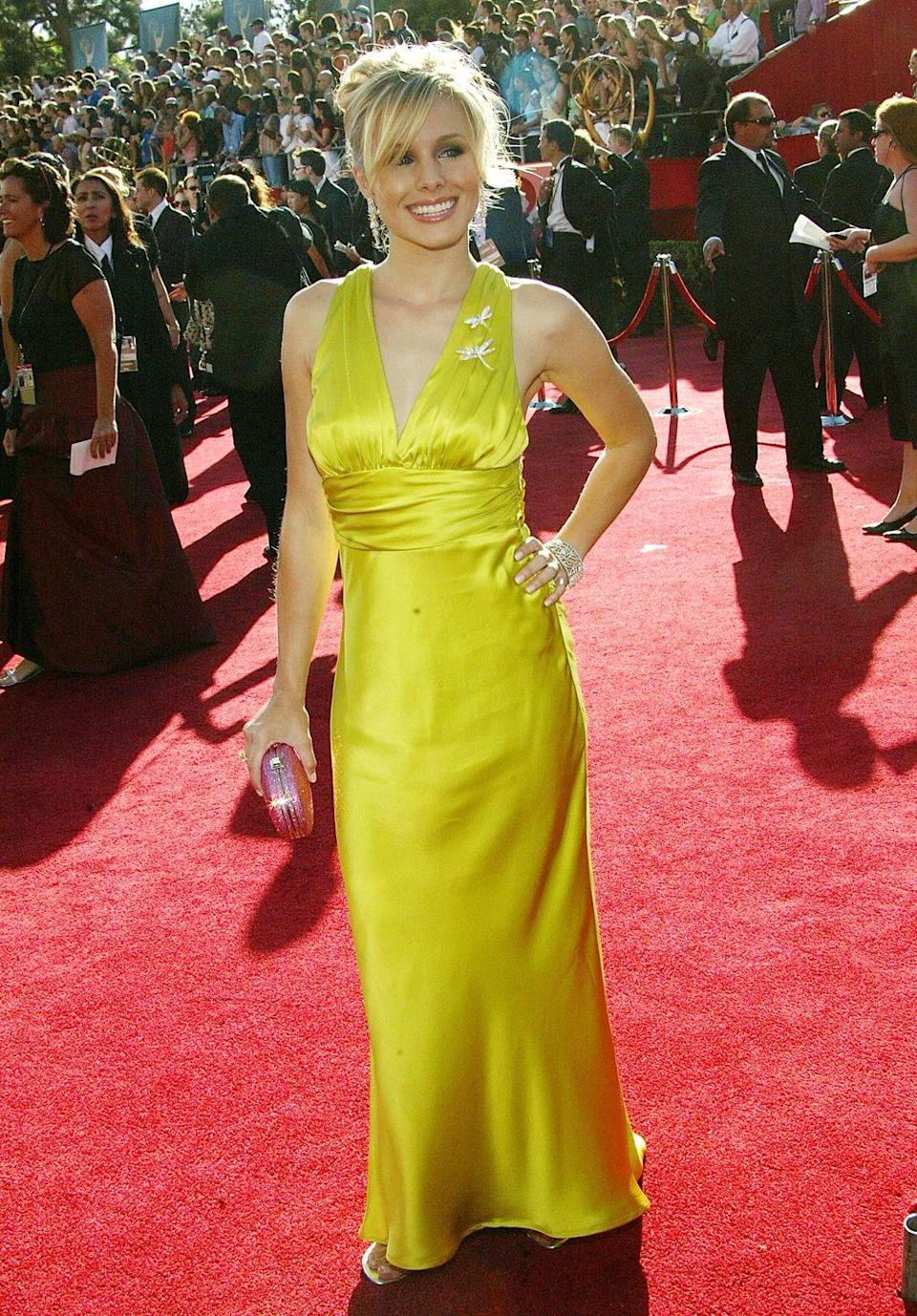 <p>Bell wore this very bright halter dress to the Emmy Awards in 2004. </p>