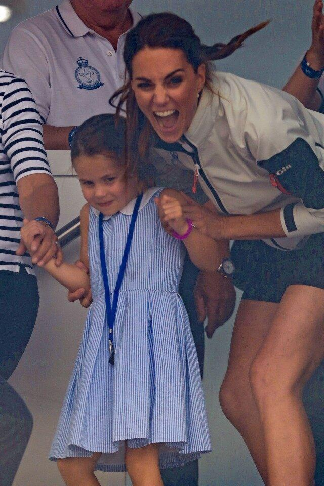 Princess Charlotte and Kate Middleton being goofy at king's cup regatta