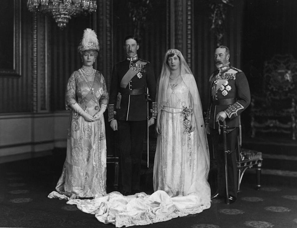 <p>King George V and Queen Mary's eldest daughter, Princess Mary, wore a classic 1920s lace gown with a sashed waist and long train to marry Viscount Lascelles, the 6th Earl of Harewood. </p>