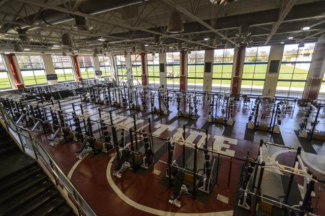 In this Feb. 27, 2013, file photo, the main room of Alabama's strength and conditioning facility is shown at the Mal Moore Athletic Facility at the University of Alabama in Tuscaloosa, Alabama. (AP Photo)