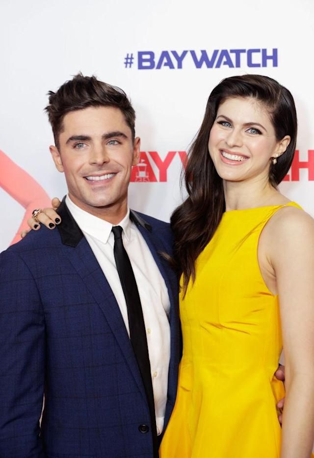 Zac Efron and Alexandra Daddario celebrate the Australian premiere of <em>Baywatch</em>. (Photo: Brook Mitchell/Getty Images for Paramount Pictures)