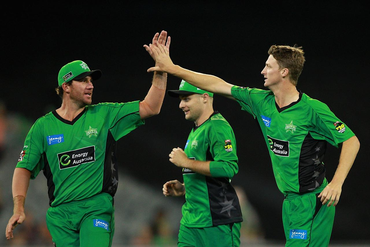 MELBOURNE, AUSTRALIA - JANUARY 08:  Jackson Bird of the Stars celebrates the wicket of Usman Khawaja of the Thunder during the Big Bash League match between the Melbourne Stars and the Sydney Thunder at Melbourne Cricket Ground on January 8, 2013 in Melbourne, Australia.  (Photo by Robert Prezioso/Getty Images)