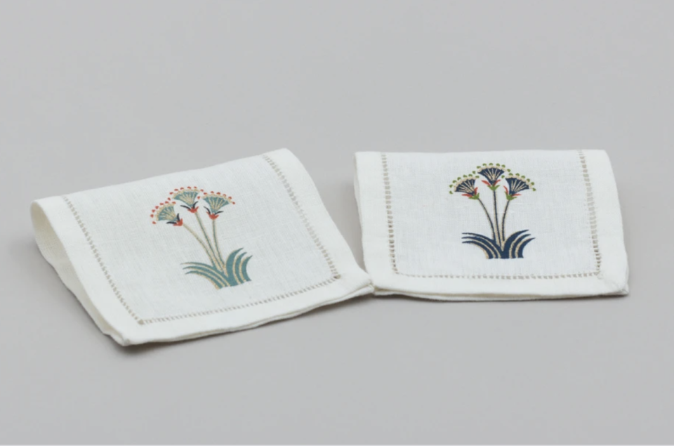 """<p><strong>Malaika Linens</strong></p><p>malaikalinens.com</p><p><strong>42.90</strong></p><p><a href=""""https://malaikalinens.com/products/nile-lotus-linen-cocktail-napkins-set-of-6?_pos=4&_sid=8e69c2e6f&_ss=r"""" rel=""""nofollow noopener"""" target=""""_blank"""" data-ylk=""""slk:Discover"""" class=""""link rapid-noclick-resp"""">Discover</a></p><p>Escape to the Nile with these lotus flower cocktail napkins printed with embroidered details from <a href=""""https://malaikalinens.com/"""" rel=""""nofollow noopener"""" target=""""_blank"""" data-ylk=""""slk:Malaika Linens"""" class=""""link rapid-noclick-resp"""">Malaika Linens</a>.</p>"""
