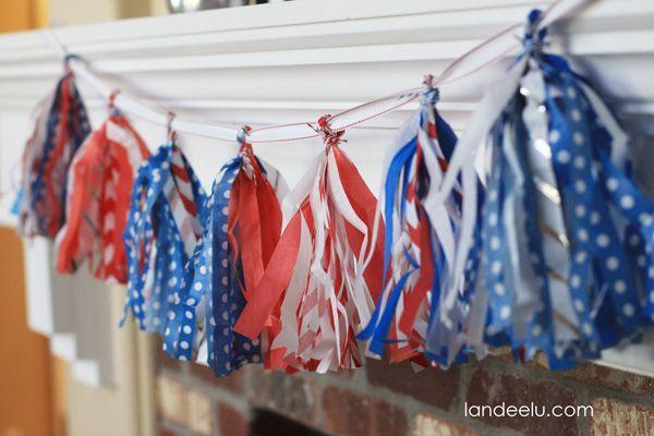 """<p>This pretty tissue paper tassel garland can add a splash of red, white, and blue to any room. </p><p><strong><em>Get the tutorial from <a href=""""https://www.landeeseelandeedo.com/patriotic-tissue-paper-tassel-garland/"""" rel=""""nofollow noopener"""" target=""""_blank"""" data-ylk=""""slk:Landeelu"""" class=""""link rapid-noclick-resp"""">Landeelu</a>. </em></strong></p>"""