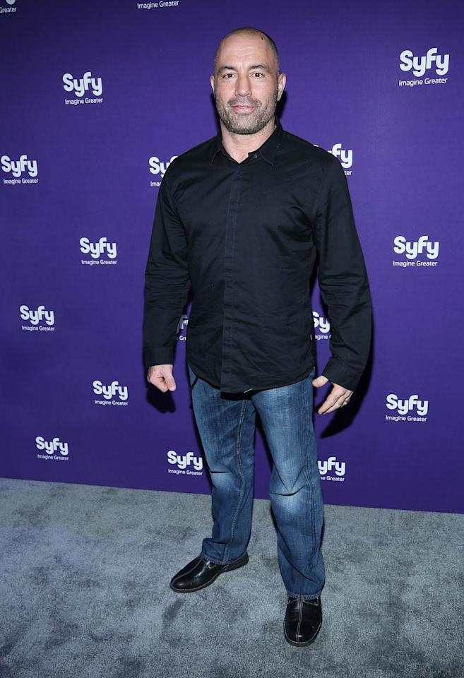 "NEW YORK, NY - APRIL 10:  Joe Rogan of ""Question Everything"" attends Syfy 2013 Upfront at Silver Screen Studios at Chelsea Piers on April 10, 2013 in New York City.  (Photo by Rob Kim/Getty Images)"