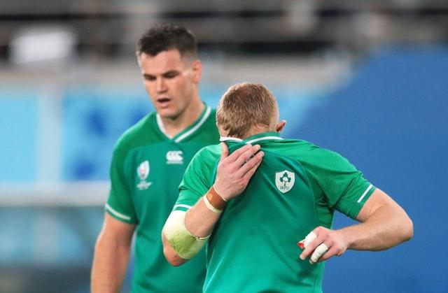 Ireland's Keith Earls (right) and Johnny Sexton appear dejected during the 2019 Rugby World Cup Quarter Final match at Tokyo Stadium.