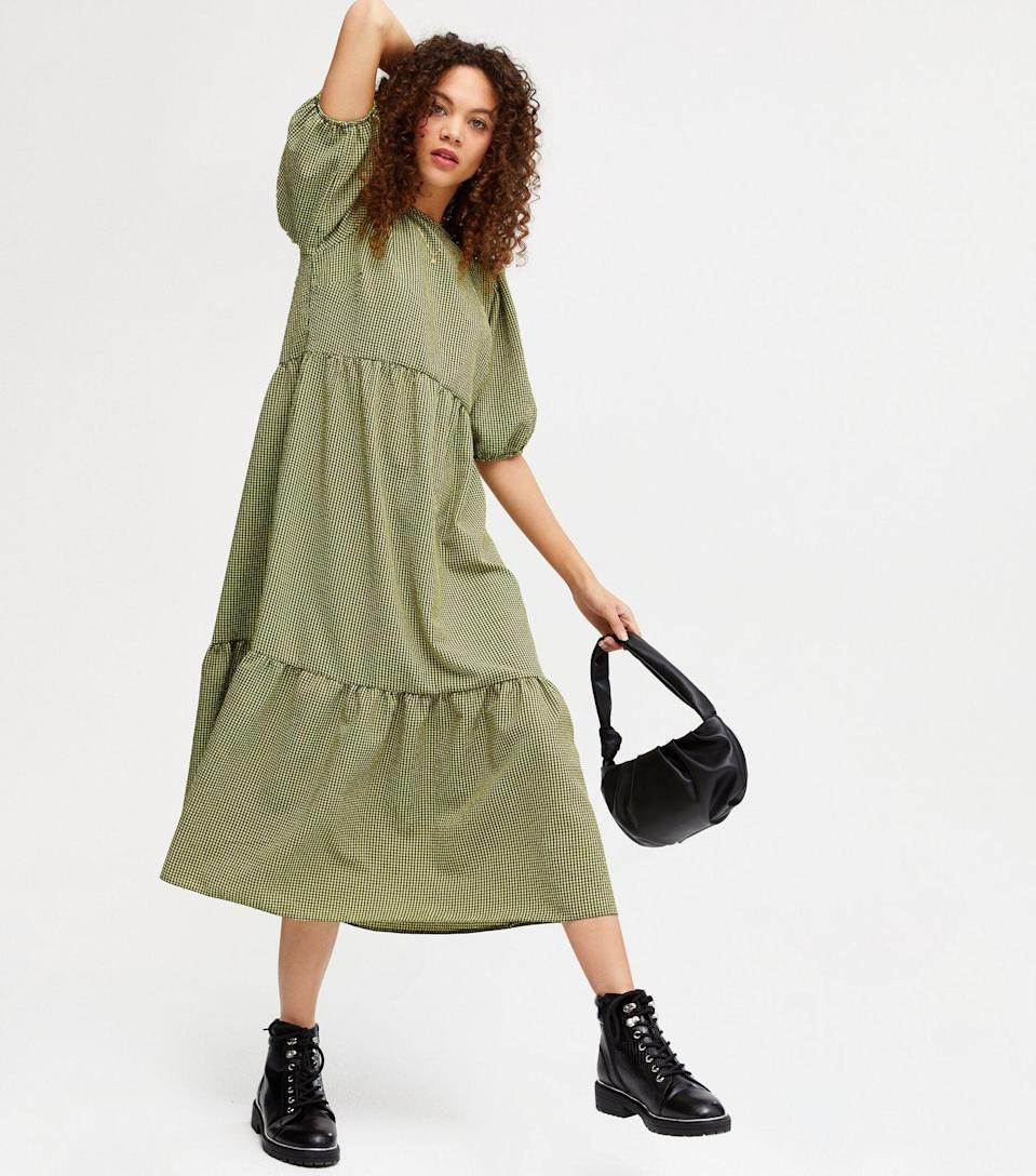 "<br><br><strong>New Look</strong> Petite Green Gingham Tiered Hem Midi Dress, $, available at <a href=""https://www.newlook.com/uk/womens/clothing/dresses/petite-green-gingham-tiered-hem-midi-dress/p/677667009"" rel=""nofollow noopener"" target=""_blank"" data-ylk=""slk:New Look"" class=""link rapid-noclick-resp"">New Look</a>"