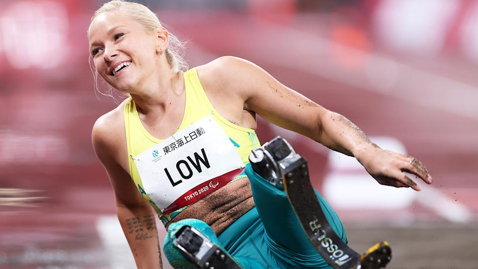 Australia's Vanessa Low broke her own world record three times to win long jump gold at the Tokyo Paralympics.