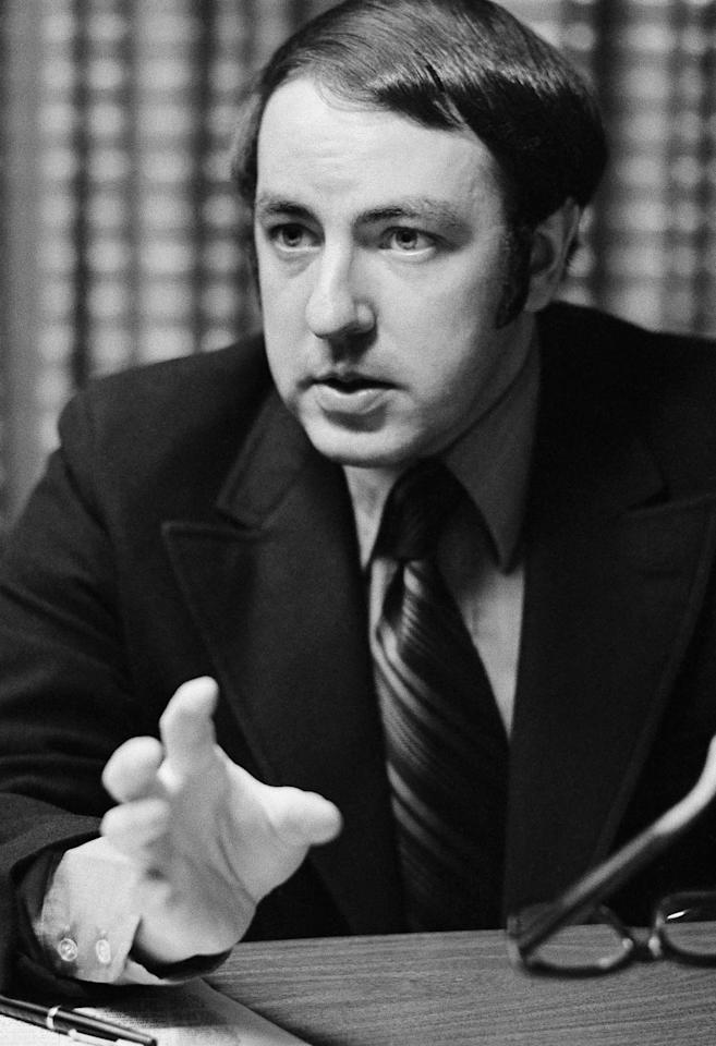 "<p>Roger Ailes, shown in his office, May 18, 1971, New York. Ailes devised the highly successful ""man in the arena"" television appearances for then-candidate Richard Nixon in 1968. He remained a part-time consultant to President Nixon for special projects. (Photo: Jerry Mosey/AP) </p>"
