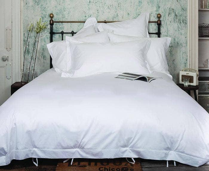 Classic white: 400tc bedding set by Beaumont & Brown, priced from £109