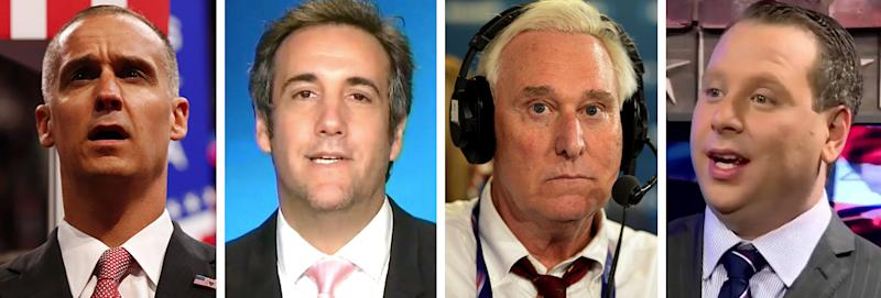 Corey Lewandowski, Michael Cohen, Roger Stone, and Sam Nunberg. (Photos: AP/ABC/Getty/You Tube)
