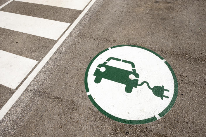 symbol indicating a place to charge an electric car with energy in Catalonia Spain
