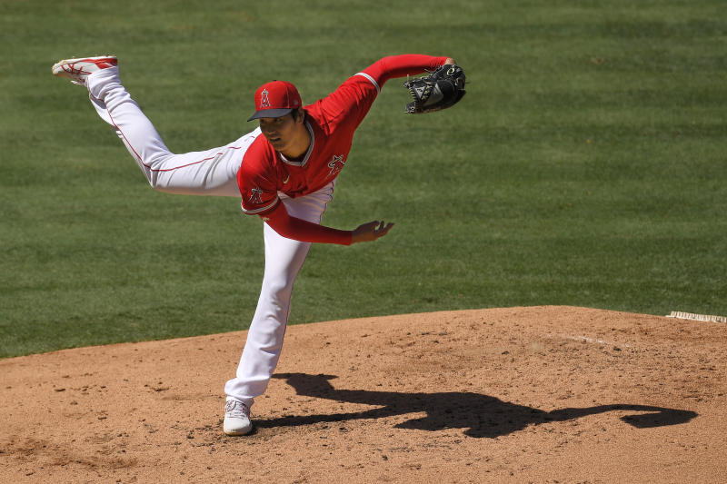 Los Angeles Angels pitcher Shohei Ohtani throws during an intrasquad baseball game at practice Monday, July 13, 2020, in Anaheim, Calif. (AP Photo/Mark J. Terrill)