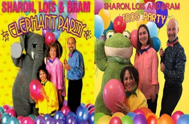 Gail, Hannah and Darrel Lawlor spent part of the pandemic recreating album covers and old paintings. Here, they pose with balloons as part of a recreation of a Sharon, Lois & Bram album. (Submitted by Darrel Lawlor  - image credit)