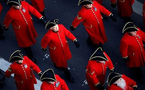 Chelsea Pensioners marching past the Cenotaph during the Annual Service of Remembrance - Credit: Owen Cooban/MOD