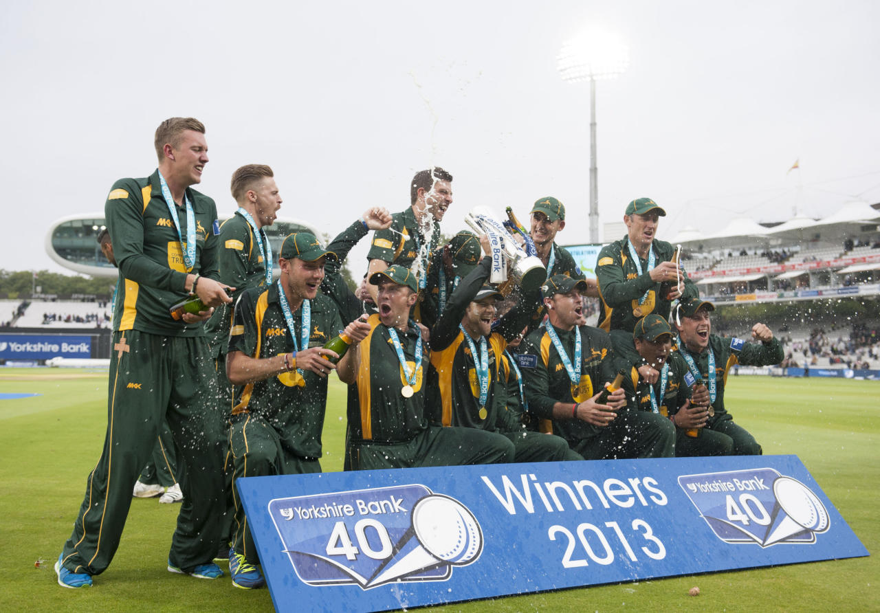 Nottinghamshire celebrate victory during the Yorkshire Bank Pro40 Final at Lord's Cricket Ground, London.