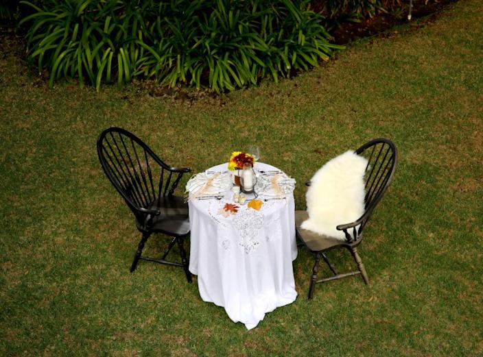 LOS ANGELES, CA - OCTOBER 21: A table setting option, during the Holidays under COVID-19, photographed in a , Los Angeles, CA, backyard, Wednesday, Oct. 21, 2020. (Jay L. Clendenin / Los Angeles Times)