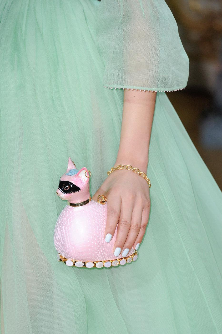 <p>When Hello Kitty isn't enough, opt for a bejeweled pink sphinx as seen at Ulyanna Sergeenko. <i>Photos: Imaxtree</i> </p>