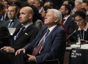 Natural historian Sir David Attenborough, second right, listens to speeches during the opening of COP24 UN Climate Change Conference 2018 in Katowice, Poland, Monday, Dec. 3, 2018. (AP Photo/Czarek Sokolowski)
